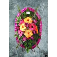 """Венок """"Овал"""" Ромашки, розы и георгины (ср) 82см*42см (в511.1.А)"""
